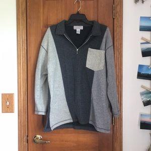 Oversized gray zip up sweater